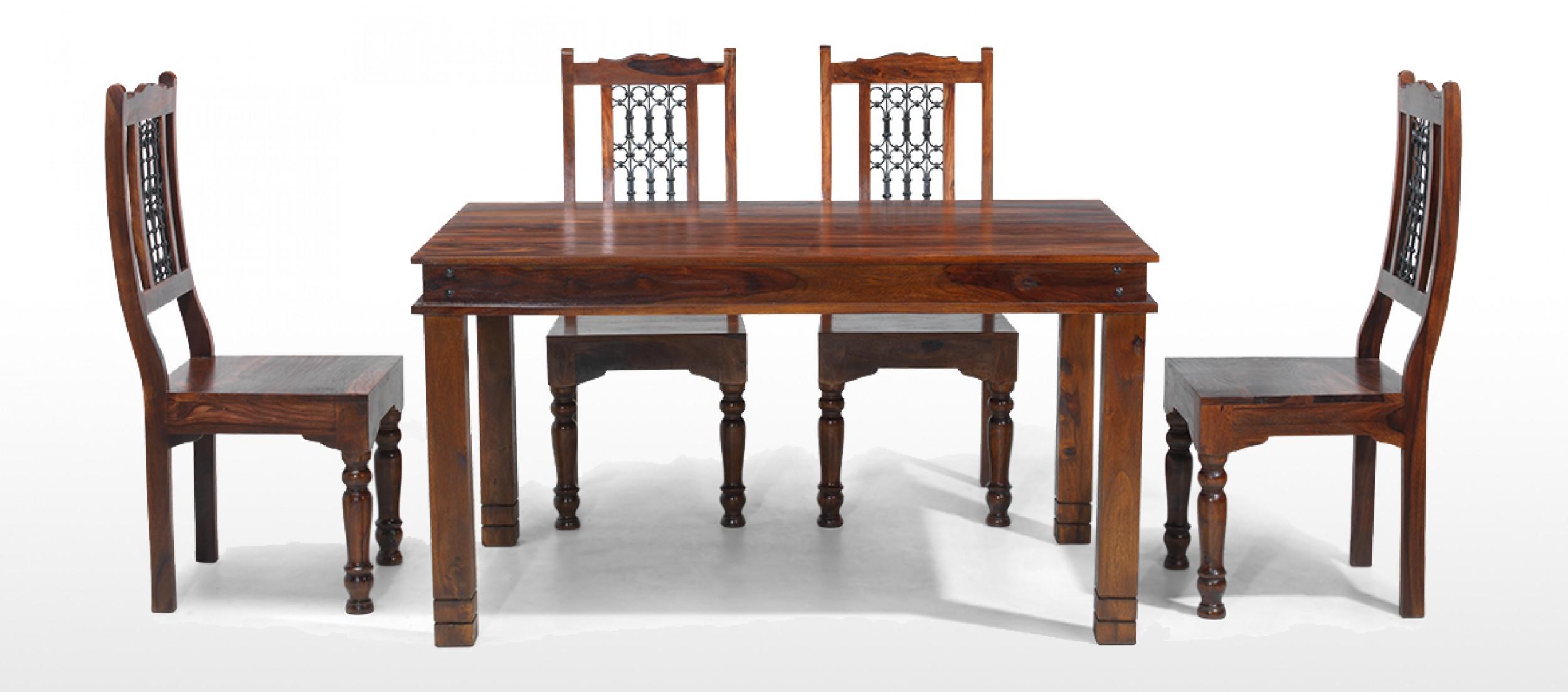 Jaipur Sheesham Dining Table 4 Chairs J D Williams  : jali sheesham thakat dining table set sh 17 set 4 front from honansantiques.com size 2500 x 1103 jpeg 283kB