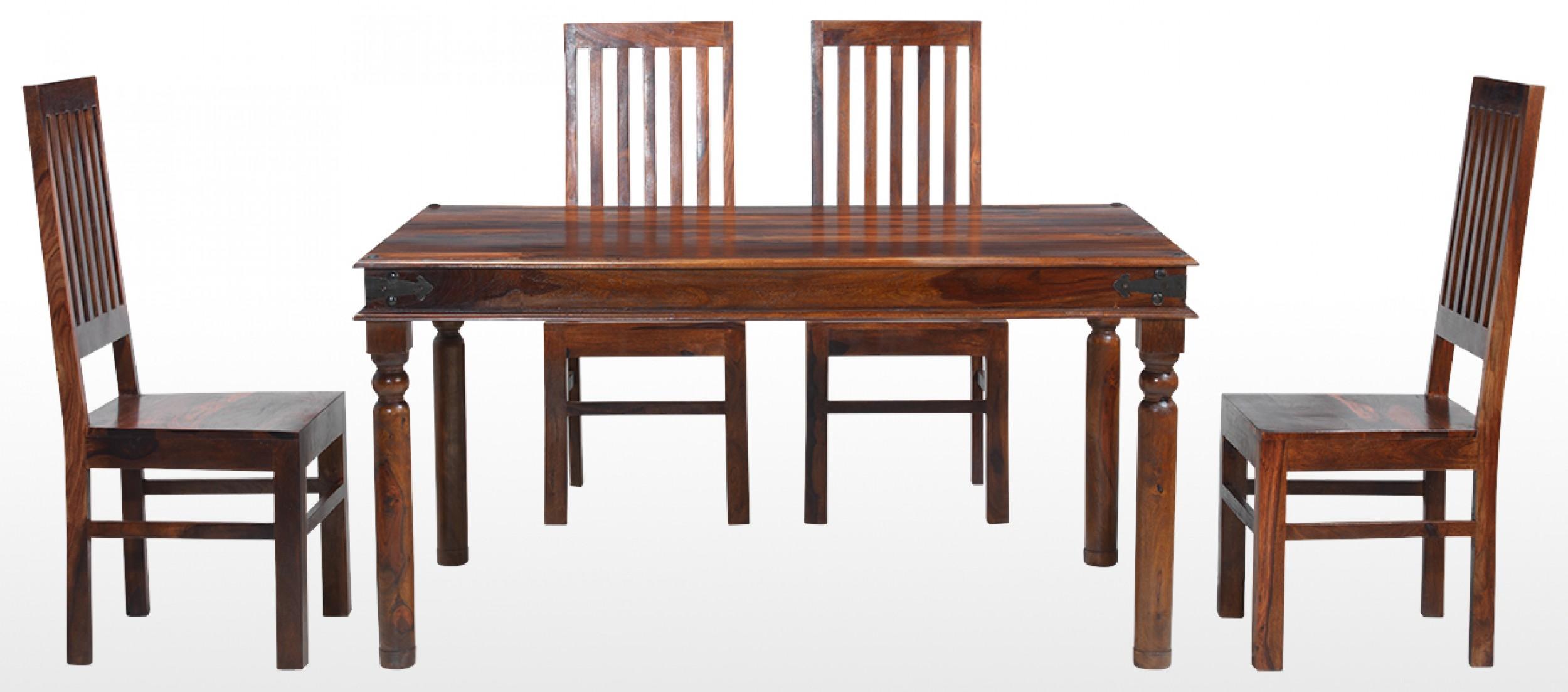 Jali Sheesham 140 cm Thakat Dining Table and 4 Chairs  : jali sheesham thakat dining table sh 12 set 4 front from www.quercusliving.co.uk size 2500 x 1103 jpeg 279kB