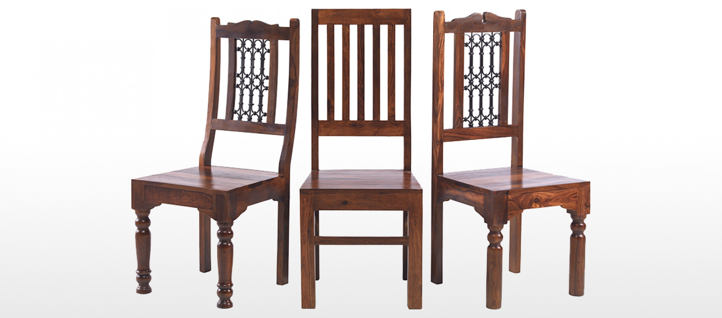Wooden chair front view - Jali Sheesham 120 Cm Chunky Dining Table And 4 Chairs
