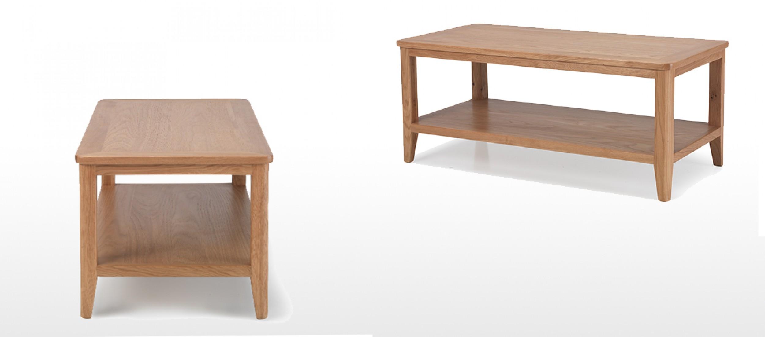 Eklund Oak Coffee Table With Shelf Quercus Living
