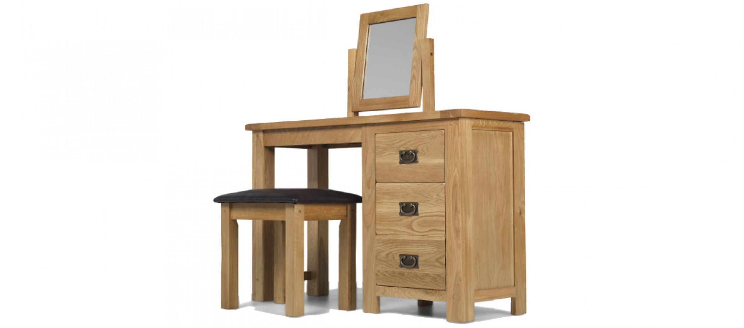 Rustic Oak Dressing Table Set Quercus Living - Rustic oak dressing table