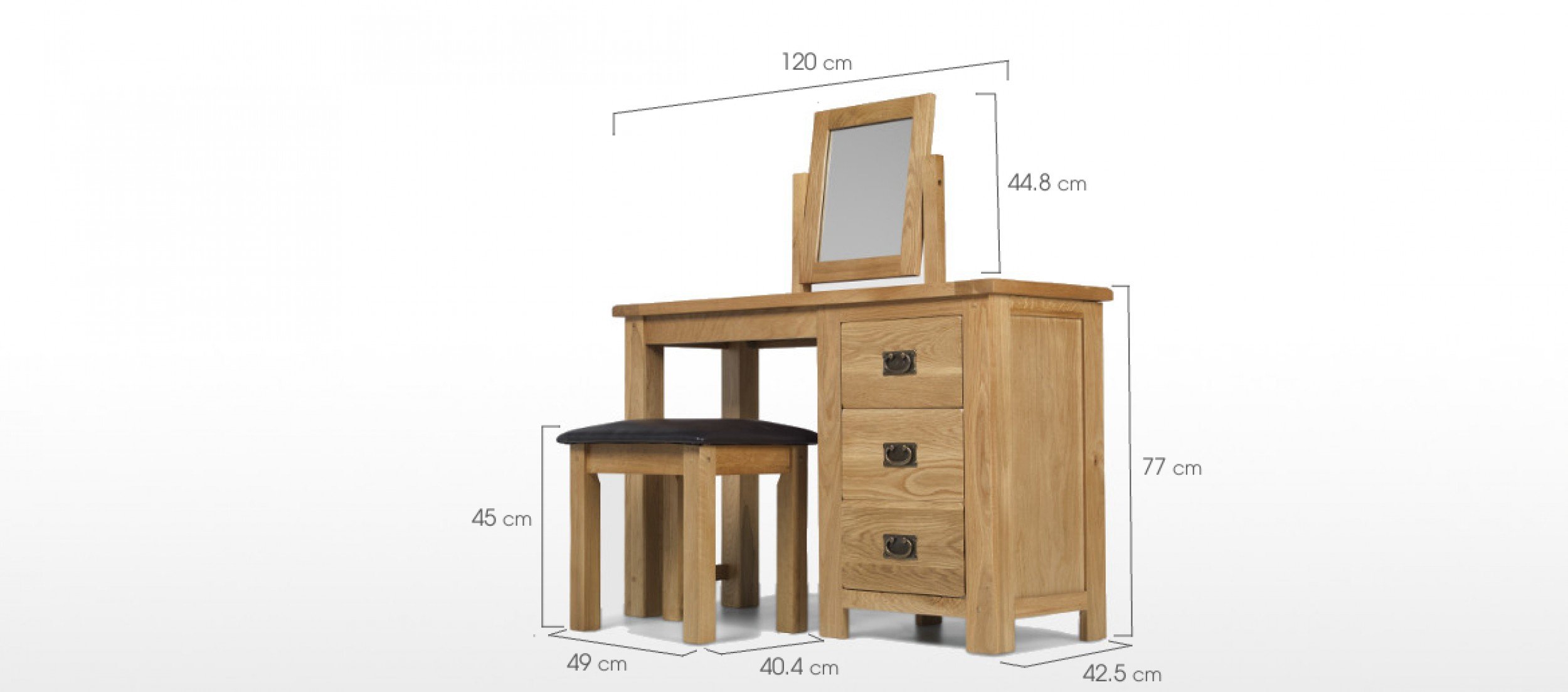 Rustic Oak Dressing Table Set Quercus Living
