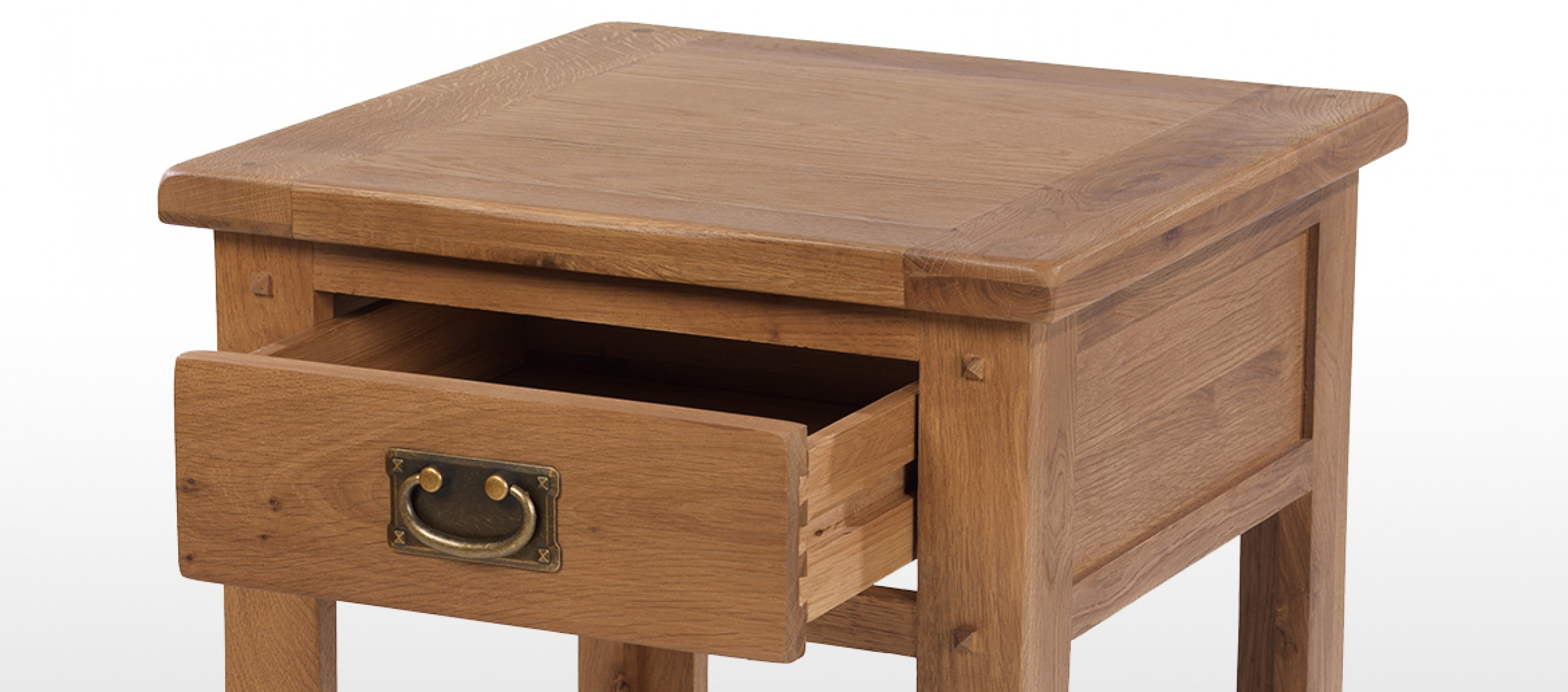 Rustic oak 1 drawer bedside table quercus living for 1 drawer bedside table