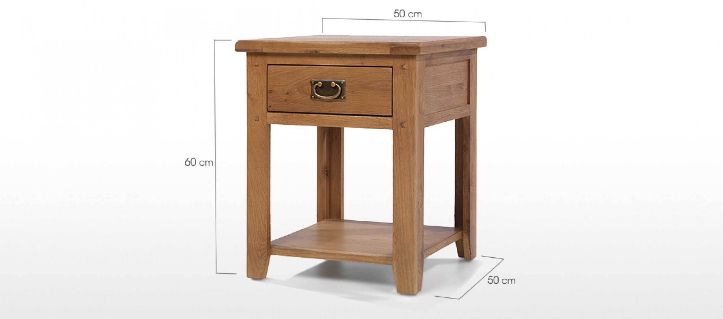 Rustic Oak 1 Drawer Bedside Table Quercus Living
