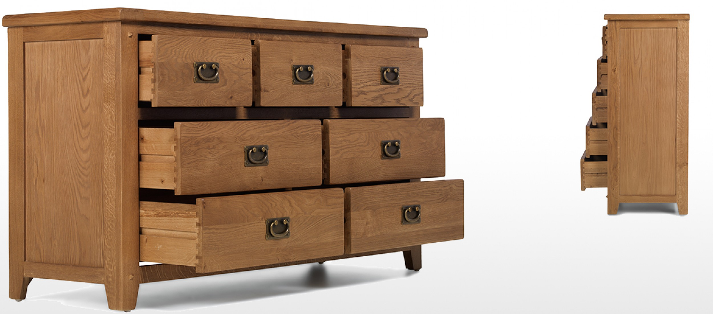 Rustic Oak 7 Drawer Wide Chest Of Drawers Quercus Living