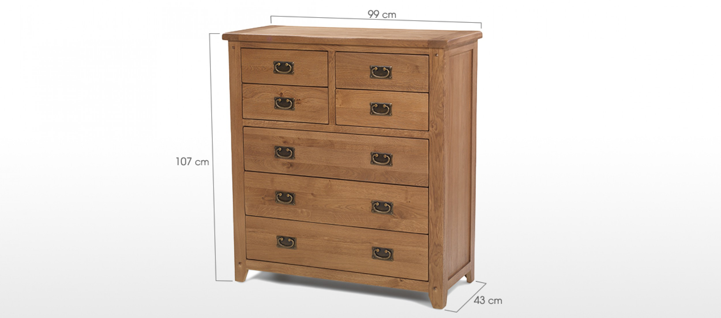 Rustic oak over chest of drawers quercus living