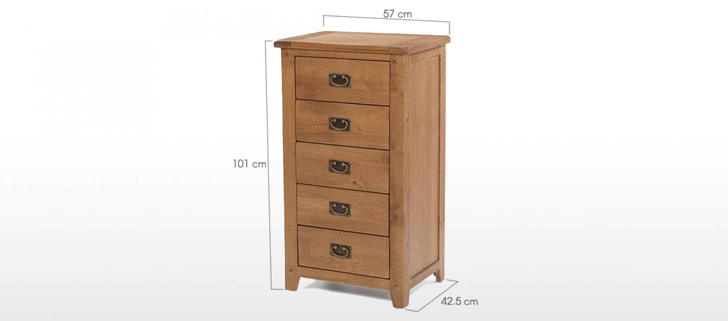 Rustic Oak 5 Drawer Tall Chest Of Drawers Quercus Living