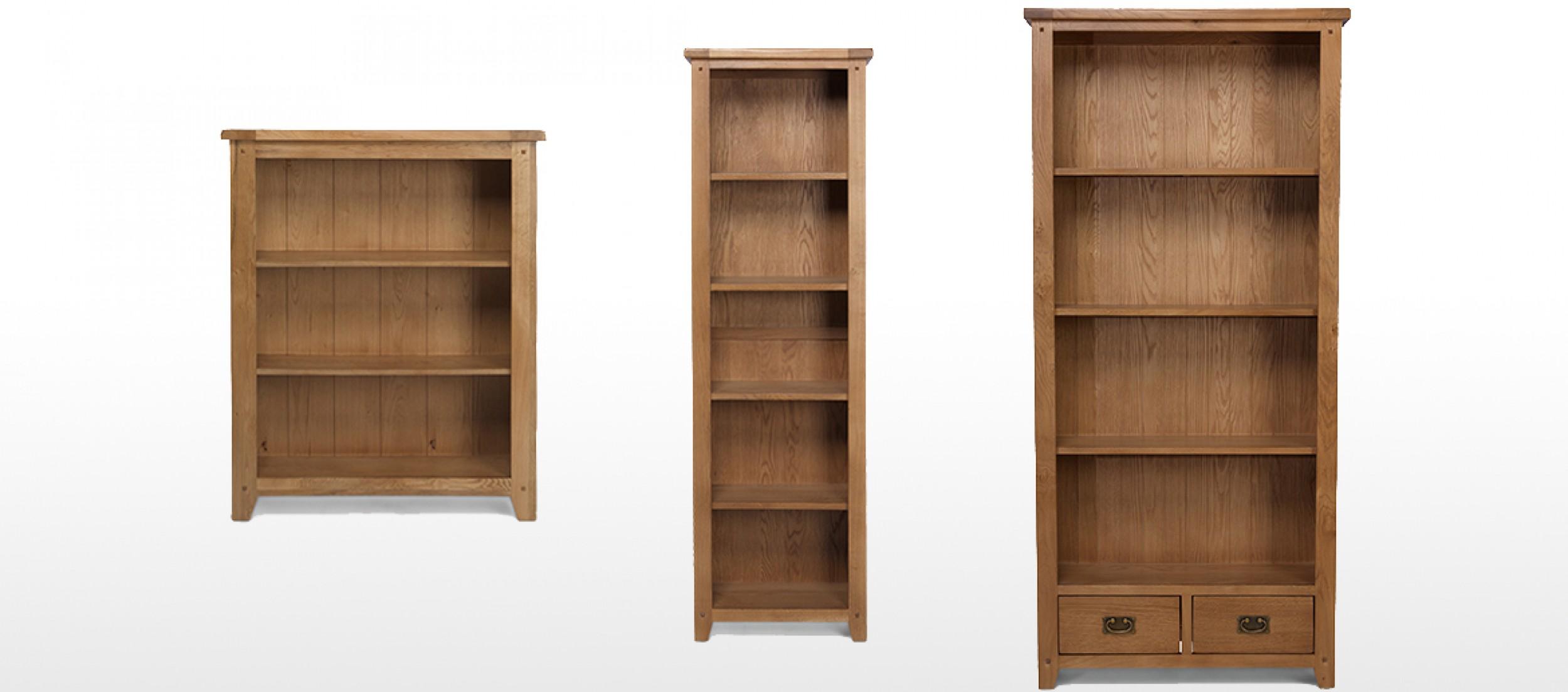 Rustic Oak Tall Slim Bookcase Quercus Living
