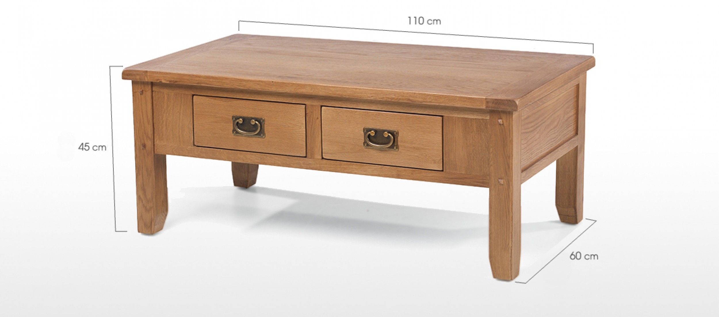 Rustic oak 2 drawer coffee table quercus living Coffee table drawers