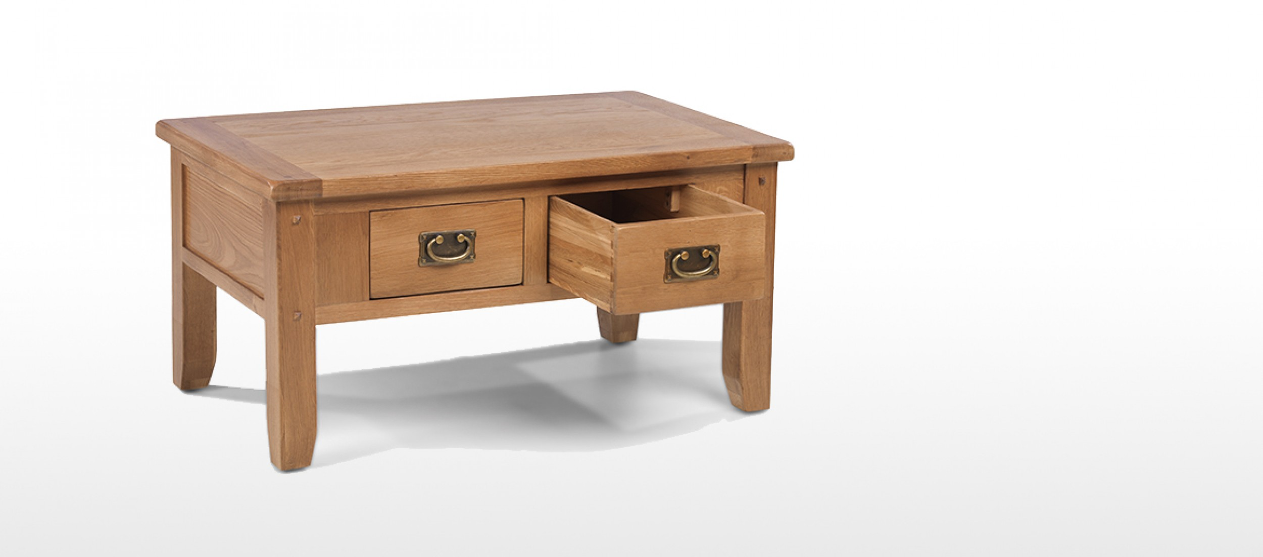 Rustic Oak Small 2 Drawer Coffee Table Quercus Living