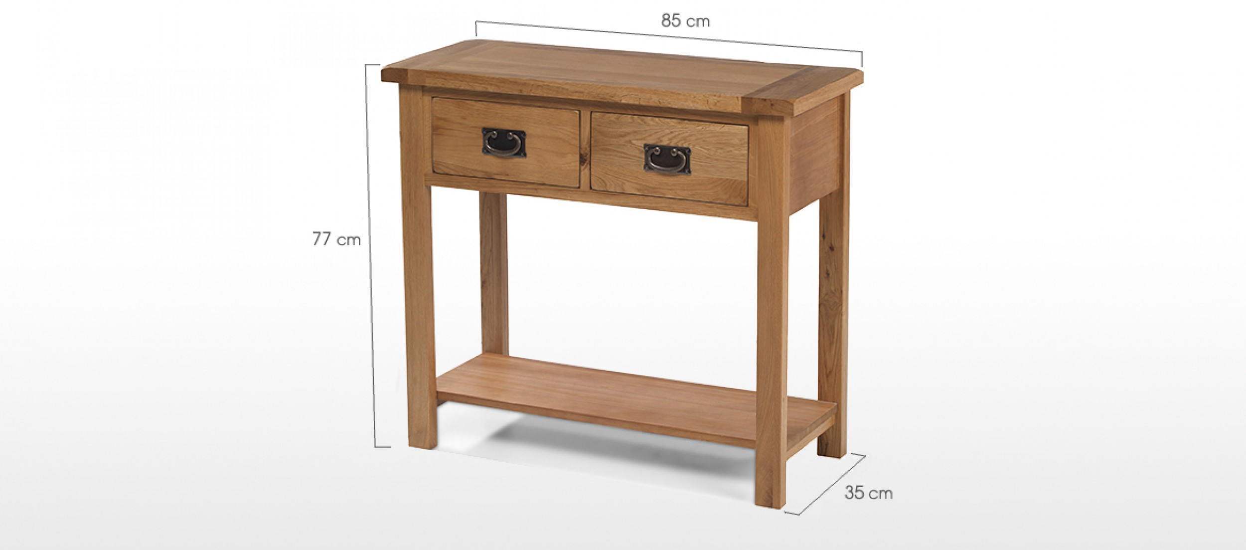 Rustic Oak Console Table Quercus Living. Full resolution‎  image, nominally Width 2500 Height 1103 pixels, image with #6C4A31.