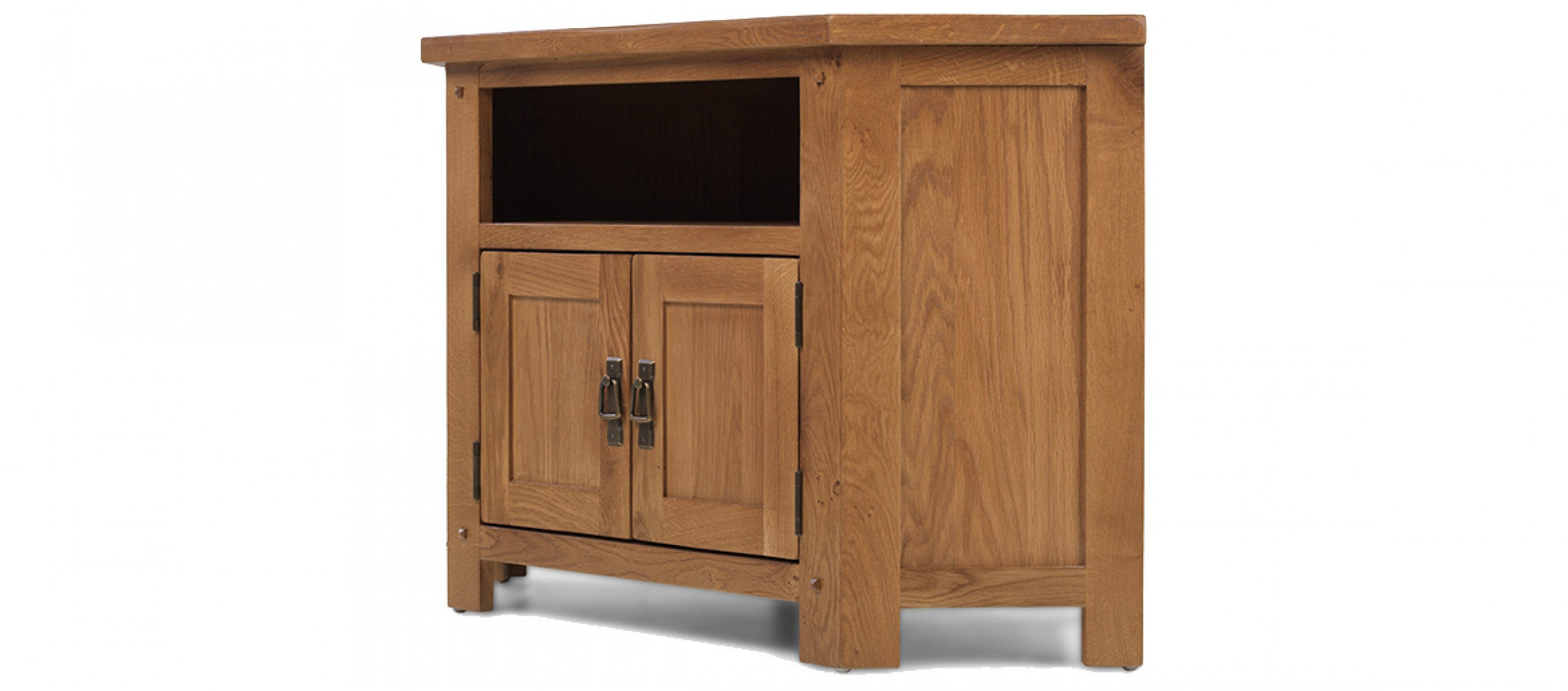 Fantastic Rustic Oak Corner TV Cabinet | Quercus Living CR79