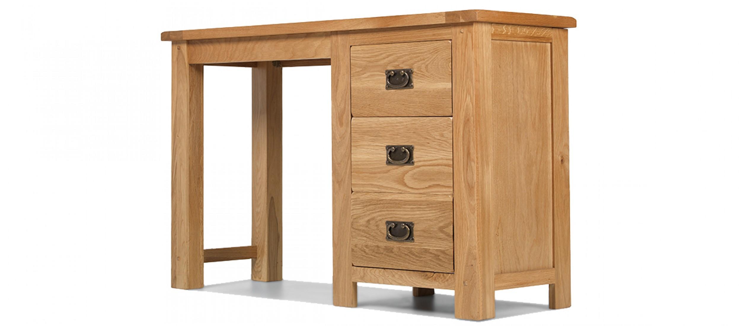 Rustic Oak Dressing Table Quercus Living - Rustic oak dressing table