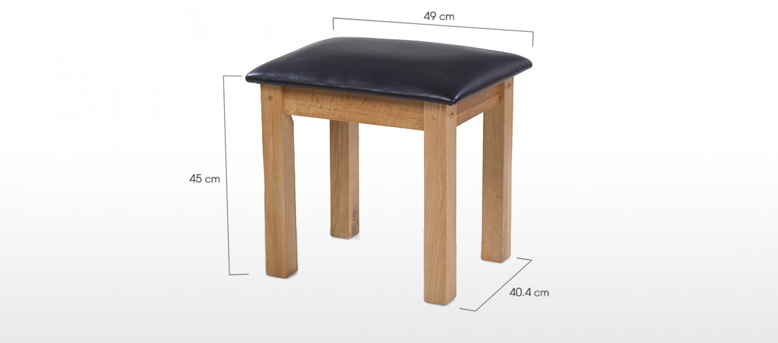 Rustic oak dressing table stool quercus living - Stool for vanity table ...