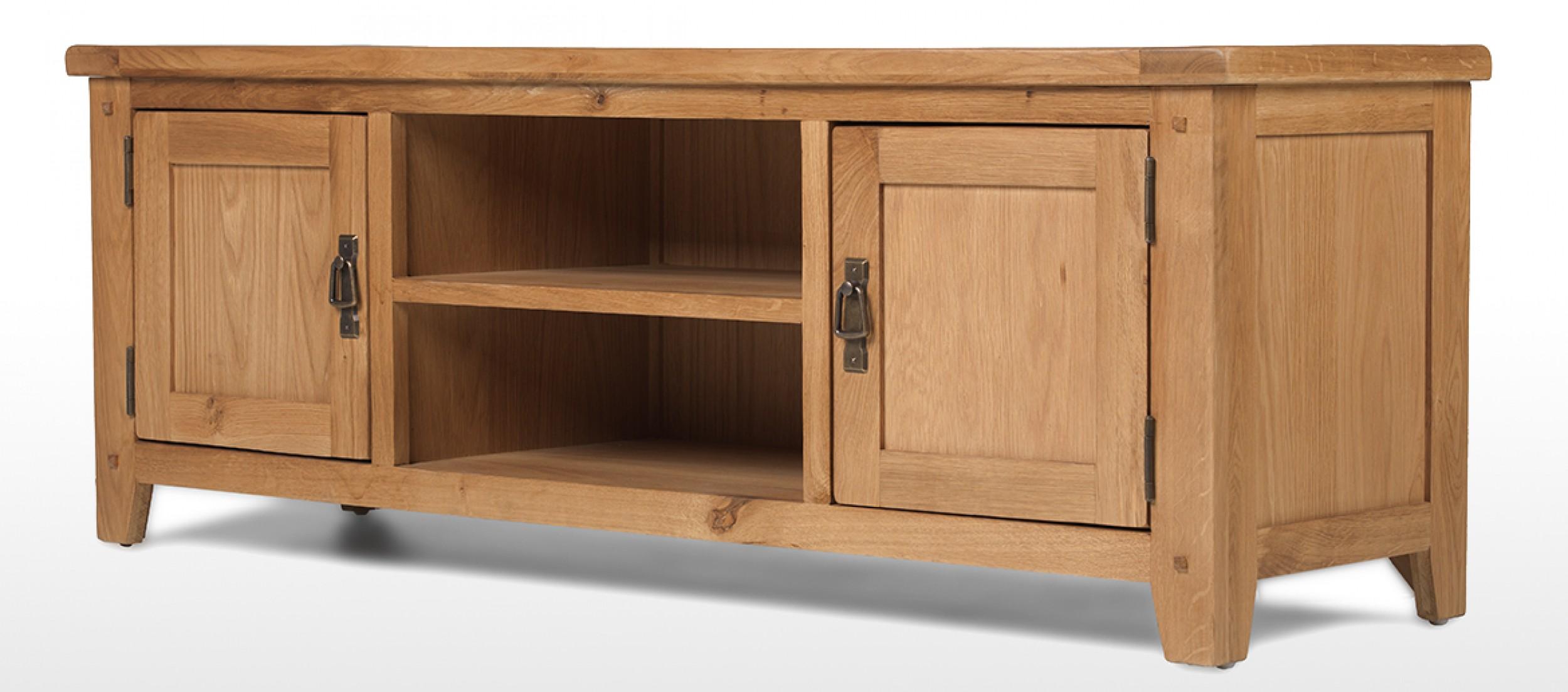 Rustic oak plasma tv stand quercus living Oak tv stands