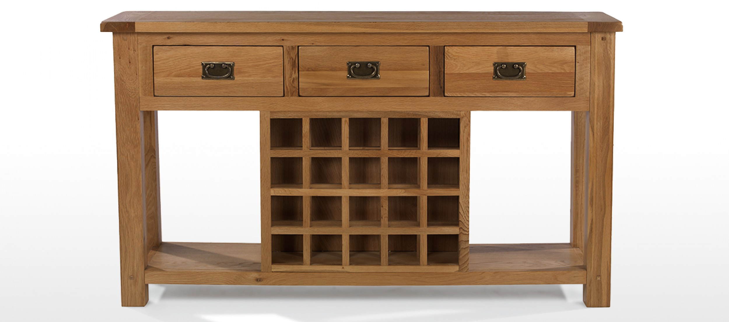 Rustic Oak Wine Rack Console Table : Quercus Living