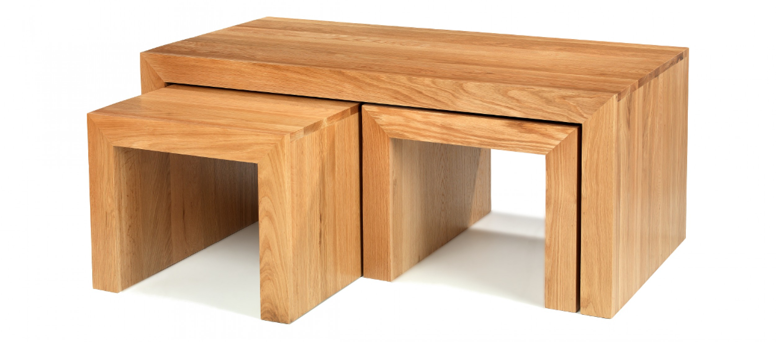 Cube Oak Long John Coffee Table