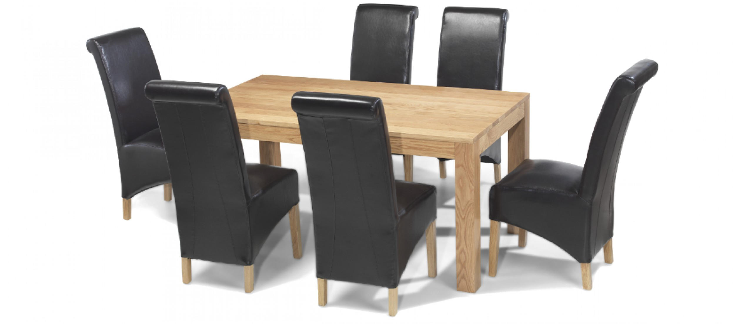 Cube oak 160 cm dining table and 6 chairs quercus living for Table 6 chaises