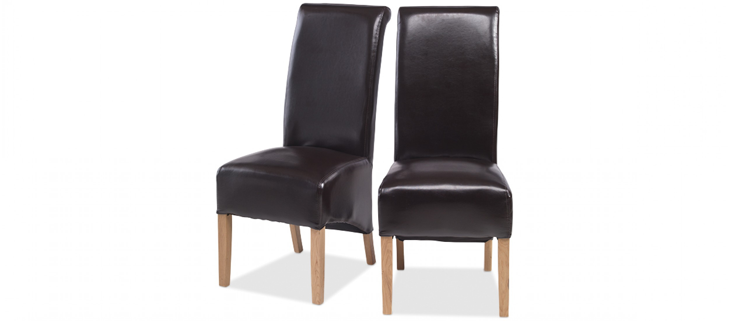 Cube oak bonded leather dining chairs brown pair