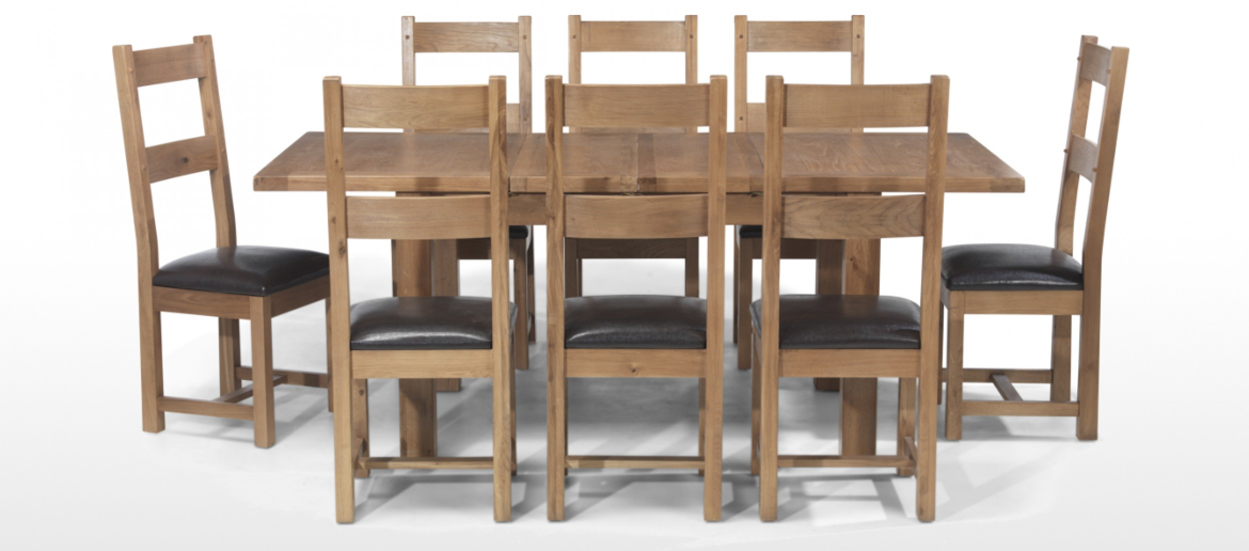Rustic Oak 132 198 Cm Extending Dining Table And 8 Chairs