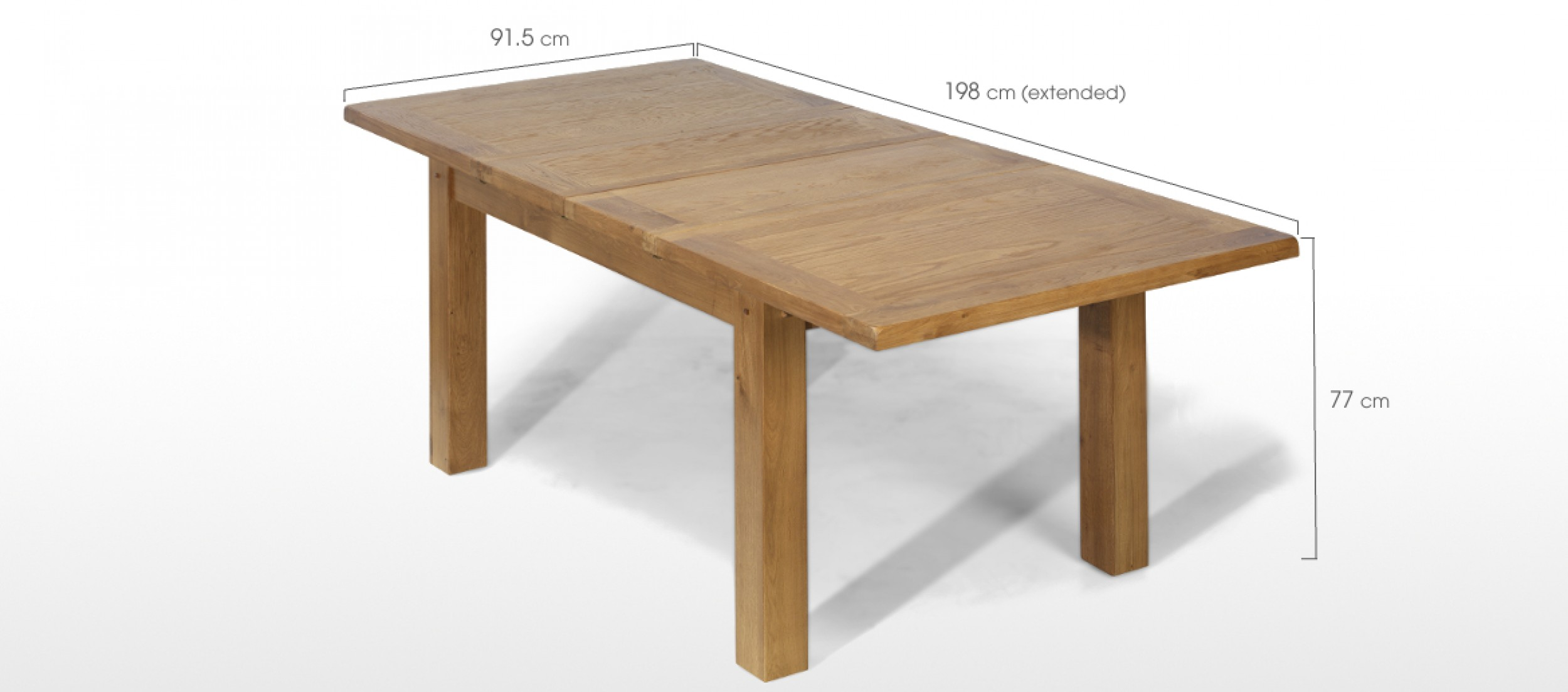 Rustic oak 132 198 cm extending dining table quercus living for Dining table specifications