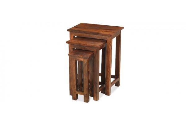Jali Sheesham Chunky Nest Of 3 Tables Quercus Living