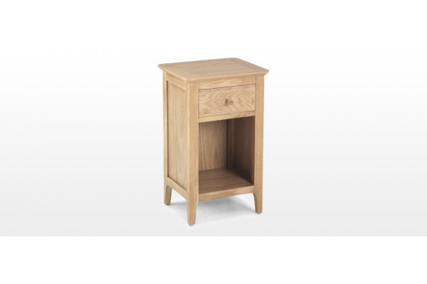 Hayman Oak Small Bedside Cabinet With Drawer Quercus Living - Small Oak Side Table With Drawers