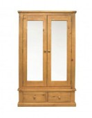 Devon Pine Double Wardrobe with Mirrors