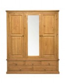 Devon Pine Triple Wardrobe with Mirror