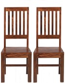 Cube Sheesham High Back Slat Dining Chairs - Pair
