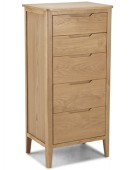 Kutaz Oak 5 Drawer Tall Chest