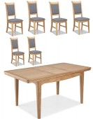 Kilmar Natural Oak Living & Dining Ext Dining Table 150/200cm and 6 Chairs