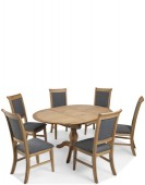 Kilmar Natural Oak Living & Dining Circular Extended Dining Table and 6 Chairs