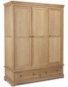 Kilmar Natural Oak Bedroom Triple Wardrobe With Drawer