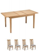 Eklund Oak Extended Dining table and 4 Chairs