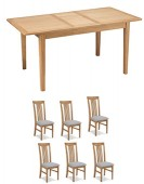 Eklund Oak Extended Dining table and 6 Chairs