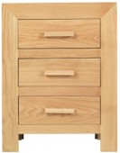 Cube Oak 3 Drawer Bedside Cabinet