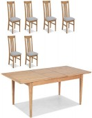 Hayman Oak 90/110cm Extended Dining Table and 6 Chairs