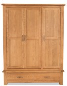 Marton Oak Triple Wardrobe with Drawers