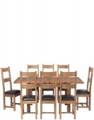 Rustic Oak 132-198 cm Extending Dining Table and 8 Chairs
