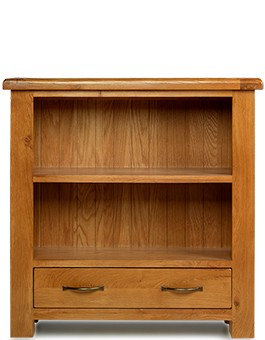 Barham Oak Low Bookcase with Drawer