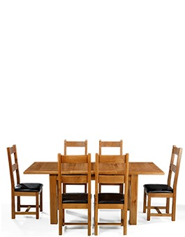 Barham Oak 132-198 cm Extending Dining Table and 6 Chairs