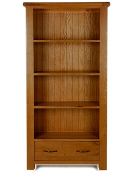 Barham Oak Large Bookcase with Drawers
