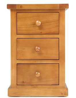 Devon Pine Kids 3 Drawer Bedside Cabinet