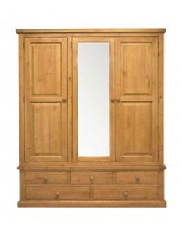Devon Pine Triple Wardrobe with Mirror