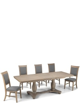 Kilmar Oak Living & Dining Pedestal Ext Dining Table 180/230cm and 6 Chairs