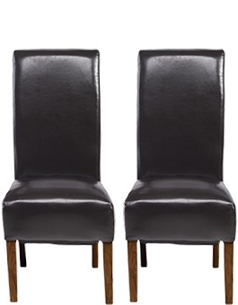 Cube Bonded Leather Dining Chairs Brown - Pair