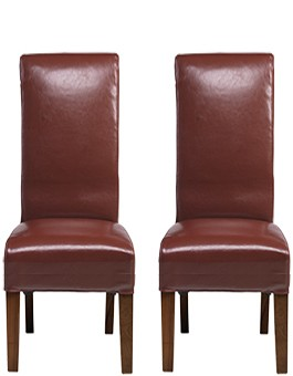Cube Bonded Leather Dining Chairs Red - Pair