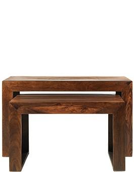 Cube Sheesham Nest of 2 Tables