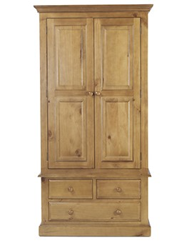 Essentials Pine Gents Double Wardrobe
